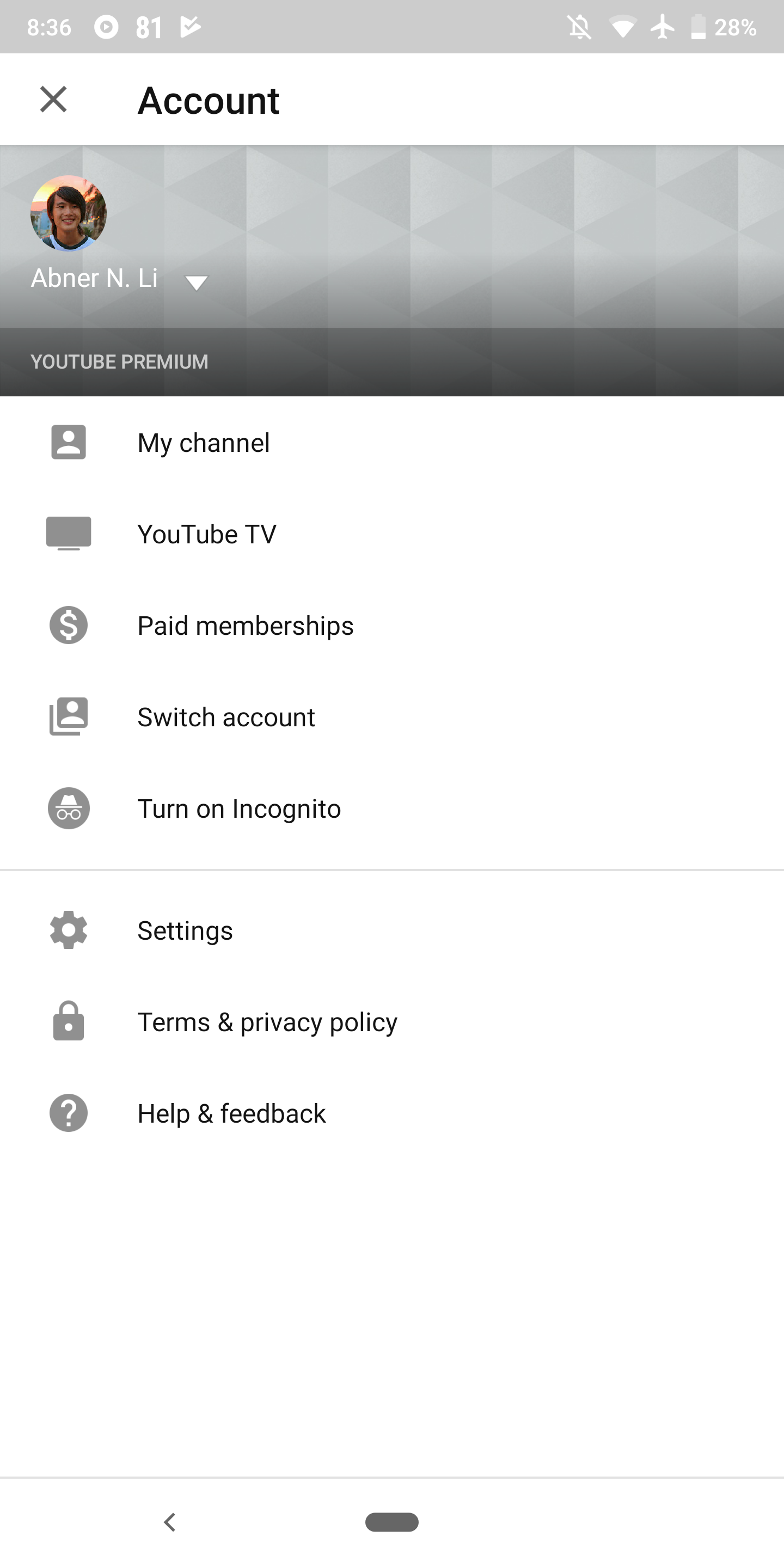 Youtube Android Incognito