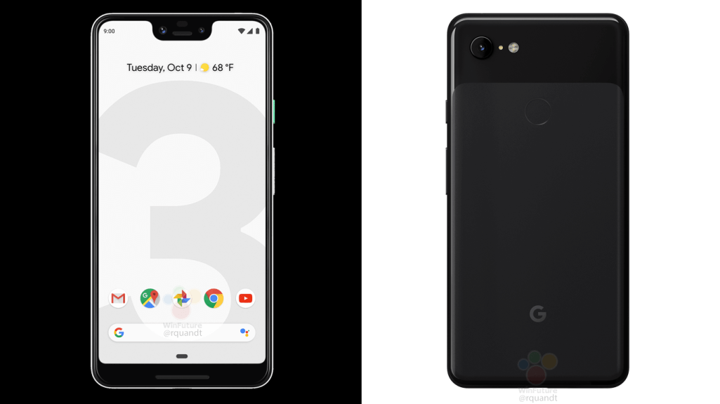Les images marketing Google Pixel 3 et Pixel 3 XL officiel fuient en noir et blanc